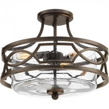 Progress P350050-020 - 3-Lt. Antique Bronze Semi-Flush Convertible