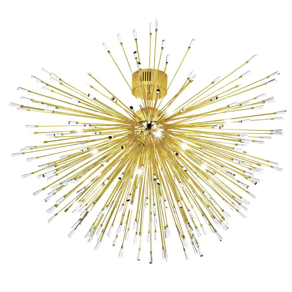 22x10W Ceiling Light w/ Gold Plated Finish & Clear Crystal Spheres