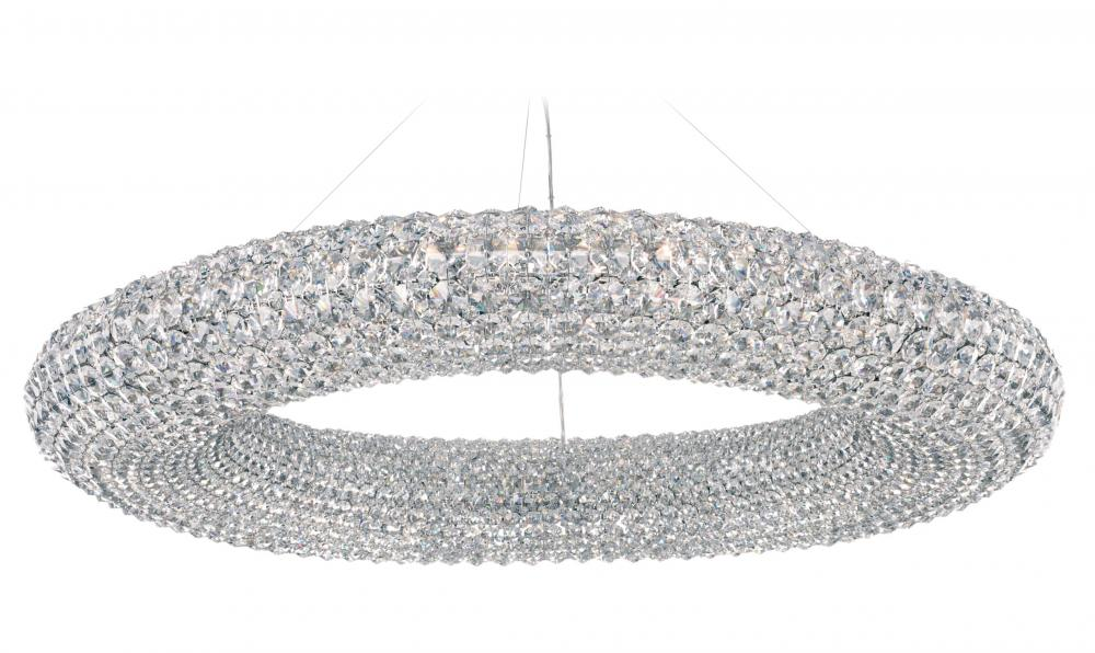 Cassini 28 Light 110V Pendant in Stainless Steel with Clear Spectra Crystal