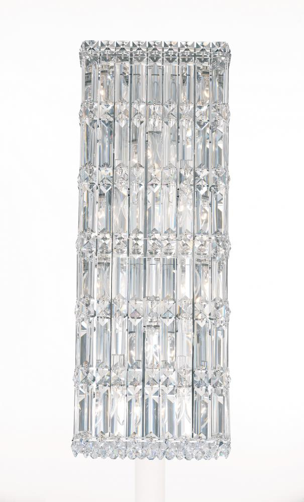 Quantum 10 Light 110V Wall Sconce in Stainless Steel with Golden Shadow Crystals From Swarovski