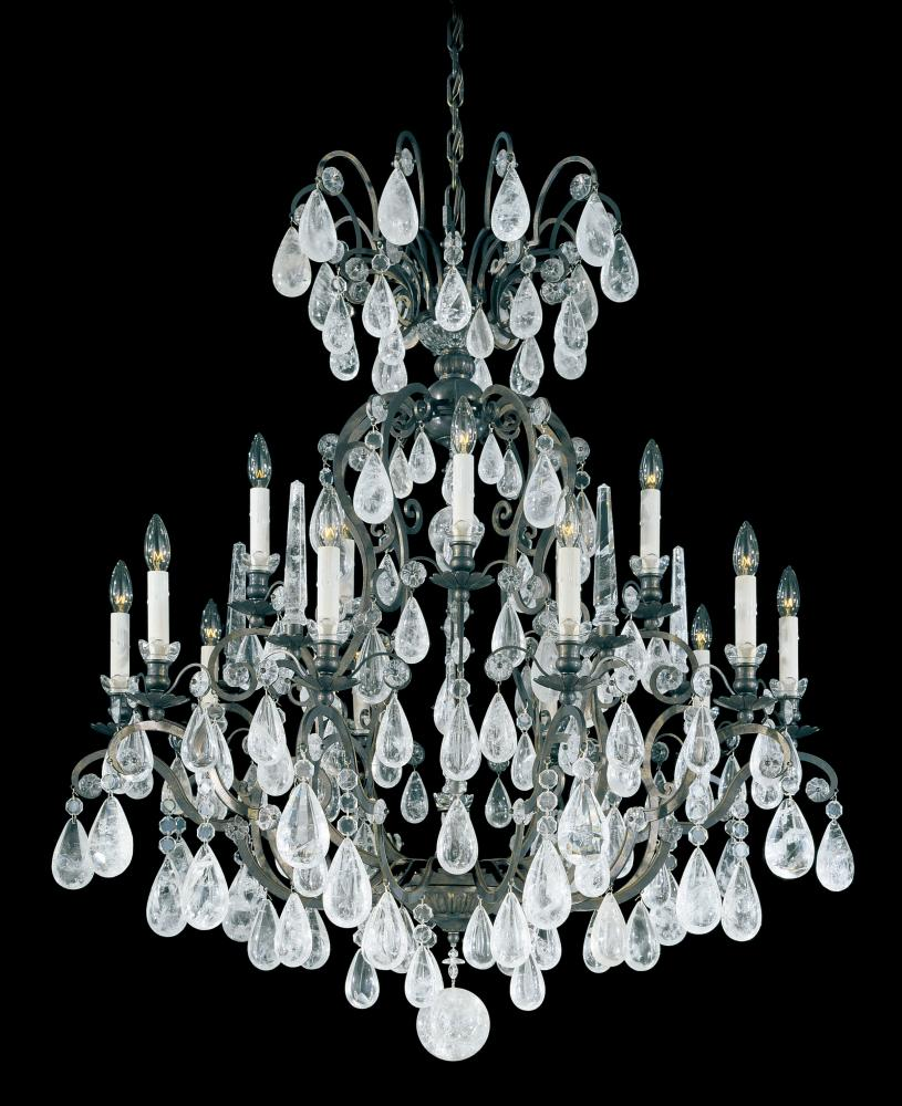 Versailles Rock Crystal 15 Light 110V Chandelier in Antique Silver with  Clear Rock Crystal - Versailles Rock Crystal 15 Light 110V Chandelier In Antique Silver