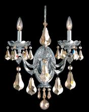 Schonbek 5331-40GS - Cadence 2 Light 110V Wall Sconce in Powder Silver with Golden Shadow Crystals From Swarovski Colors