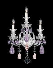 Schonbek 5503AM - Hamilton Rock Crystal 3 Light 110V Wall Sconce in Silver with Amethyst And Rose Rock Crystal