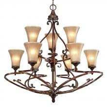 Golden 4002-9 RSB - 2 Tier - 9 Light Chandelier