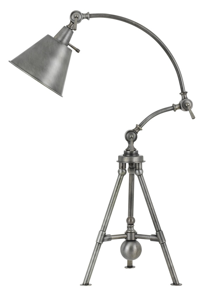 "29"" Height Metal Desk Lamp In Antique Pewter"