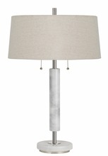 CAL Lighting BO-2766TB - 60W X 2 Mexia Marble Desk Lamp With Pull Chain Switches And Burlap Shade