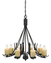 "CAL Lighting FX-3561/8 - 28"" Inch Tall Metal Chandelier In Black Smith Finish"