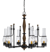 "CAL Lighting FX-3564/6 - 25"" Inch Tall Metal Chandelier In Metal Wood Finish"