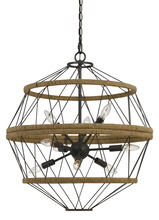CAL Lighting FX-3605-9 - 27.5 Inch Tall Metal Chandelier In Iron Finish