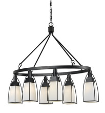 CAL Lighting FX-3612-6 - 32.75 Inch Metal And Glass Chandelier In Black Finish