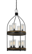 "CAL Lighting FX-3614-8 - 39"" Inch Tall Metal And Wood Fixture In Iron Wood Finish"