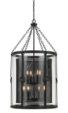 "CAL Lighting FX-3617-8 - 42"" Inch Glass And Steel Chandelier In Black Smith Finish"