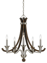 "CAL Lighting FX-3619-5 - 26.5"" Inch Tall Steel And Wood Chandelier In Brushed Steel Wood Finish"