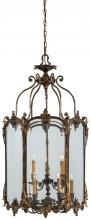Minka Metropolitan n2335-oxb - Nine Light Antique Bronze Patina Clear Glass Framed Glass Foyer Hall Fixture