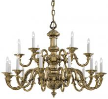 Minka Metropolitan n700218 - Eighteen Light Chandelier in Traditional Solid Cast Brass Williamsburg Style in Classic Brass Finish