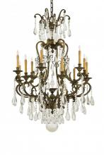 Minka Metropolitan n950115 - Twelve Light Oxidized Brass Bohemian Crystals Glass Up Chandelier