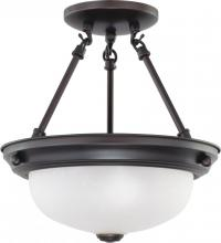 "Nuvo 60-3338 - 2 Light  11""  Semi-Flush w/ Frosted White Glass - (2) 13w GU24 Lamps Included"